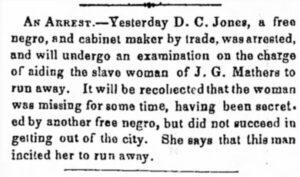 Newspaper article detailing the arrest of Dudley C. Jones